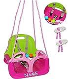 Unbekannt Babyschaukel / Gitterschaukel - incl. Name - mitwachsend & umbaubar - mit Gurt -  ROSA / PINK  - Leichter Einstieg ! - 100 kg belastbar - Kinderschaukel ab ..
