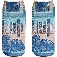 OHlive Suave Zapatillas de Deporte Impresas 3D del dólar de Las Mujeres Calcetines del Tobillo (1 par-MY03-One Size) (Color : MY03, tamaño : Talla única)