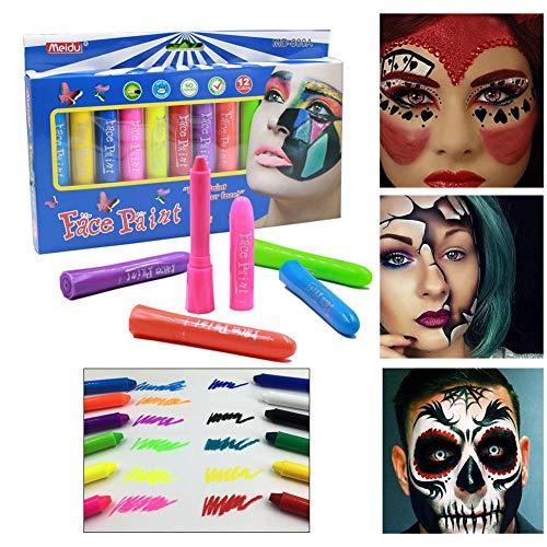 Crayon Kinder Kostüm - Ablerfly 12 Farben Gesicht Paint Set Crayon für Kinder, Kinder 12 Farben ungiftig Facial Painting Crayons Kit für Kostüm, Weihnachten, Partys, Cosplay serviceable Impart