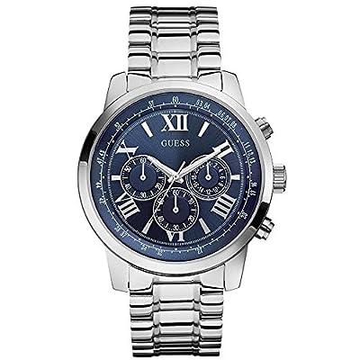 Guess W0379G3 - Reloj con correa de metal, para hombre, color azul / plateado