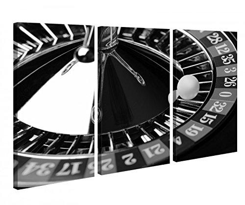 Leinwandbild 3 Tlg. Roulette Casino Spiel Glück Zero schwarz weiß Leinwand Bild Bilder Holz fertig gerahmt 9R793, 3 tlg BxH:90x60cm (3Stk 30x 60cm)