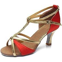 KMM - Zapatillas de Piel para mujer multicolor, color Rojo, talla 40