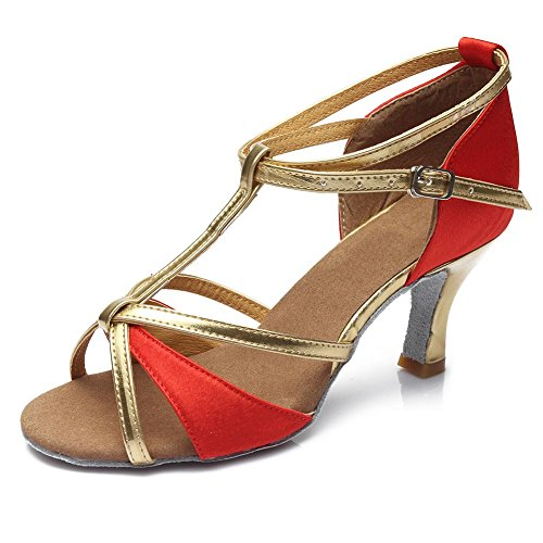 HIPPOSEUS Donna Ballroom Scarpe da ballo /sala da ballo scarpe/Scarpe da ballo latino standard di Raso,Modello-IT255 7CM Rosso