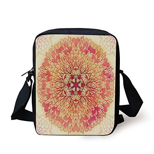Red Mandala,Spiritual Fantasy Flower Lively Colors Cosmos Balance Traditional Print Decorative,Pink Yellow Coral Print Kids Crossbody Messenger Bag Purse