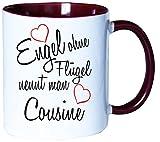 Mister Merchandise Kaffeebecher Tasse Engel ohne Flügel nennt man Cousine Tante Tochter Onkel Schwanger Baby Teetasse Becher Weiß-Bordeaux