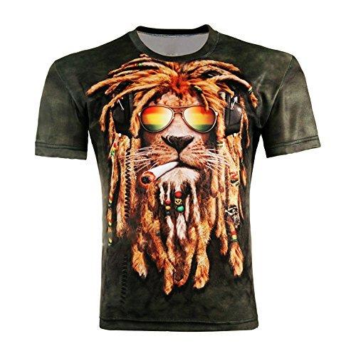 Andy's Share, Damen Herren Shirt Bluse 3D Print Kurzarm Design Tops Hemd T-Shirt (L, B) (Charmante T-shirt Herren)