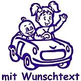 Babyaufkleber Autoaufkleber für Geschwister mit Wunschtext - Motiv G1-MJ (16 cm)