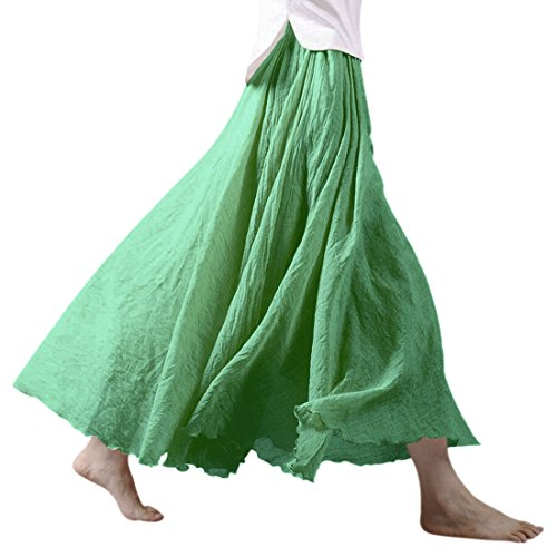 Nlife Frauen Baumwolle Leinen Double Layer Elastische Taille langen Langer RockMaxi Rock (95CM, Fruit Green) (Leinen Rock Langer)