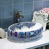 Ovale Jingdezhen lavabo bol en céramique évier lavabo chinois comptoir en...