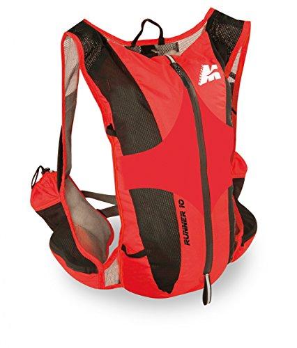 Marsupio RUNNER 10 L Laufrucksack (10 Liter Geländelauf Berglauf Nylon 225 g), Farbe:Black - Red;Größe:10 L (Trekkingstock Superleichter)