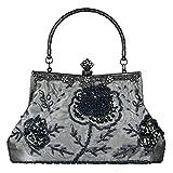 ECOSUSI Vintage Small Clutch Beaded Sequin Rose Evening Handbag Purse Wedding Bag Seed Shoulder Bag
