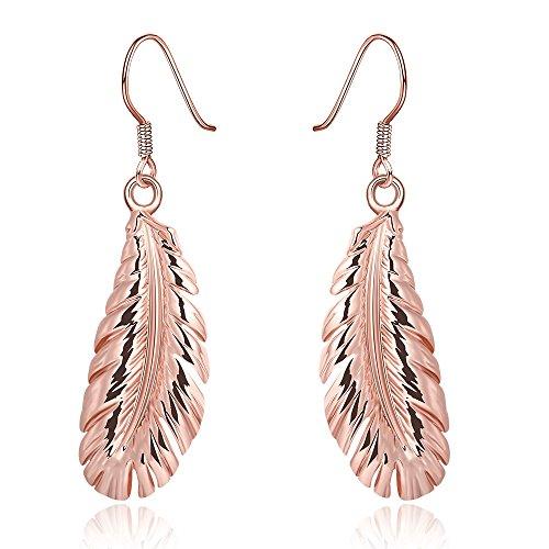 Coolcool oro rosa 18K pendente orecchini elegante piuma design regalo per donna