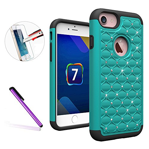 iPhone 7Custodia in pelle a portafoglio cover, il leggero Custodia Shiny strass PU Custodia in pelle con design telefono Cover protettiva per iPhone 7g + 1Pellicola proteggi schermo + 1pennino touch.