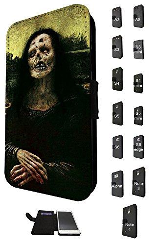 703–Funny Walking Dead Zombie Mona Lisa Design Samsung Galaxy S5i9500Book Style Purse Wallet Pouch Tasche Flip Schutzhülle Flip Case Kreditkarte (Lisa Mona Zombie)