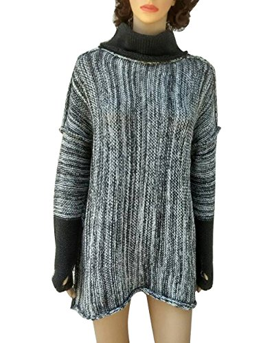 Yieune Femme Pulls Sweat-shirts Chic Gris Pullover Col Haut Tricoté Chandail Hiver Tunique Gris foncé