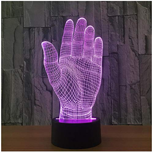 hLampee Palm Hand 3D Led Nachtlicht Acrylic Lampe Touch Switch Novelty Lighting Usb Lampe Table Lampe As Halloween Party Office Decor Gift ()
