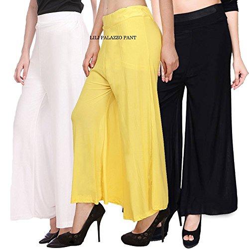 Lili's Women's Malai Lycra Palazzo Pant Combo (Pack-3)White,yellow,black-Free Size