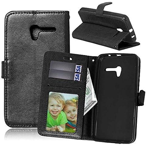 Beiuns para Alcatel One Touch Pop 3 (5 pulgadas) Funda de PU piel Carcasa - K124 noble negro