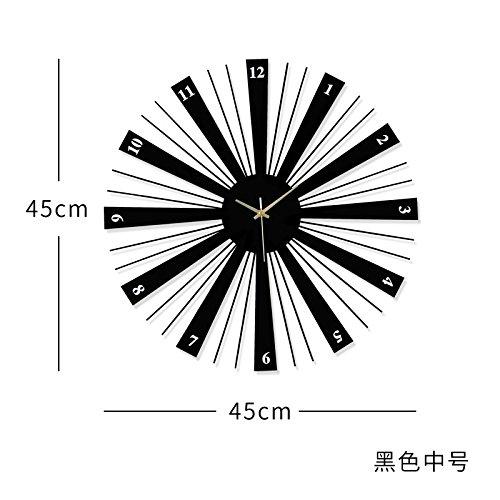 OLILEIO la personnalité créatrice de Mode Minimaliste Moderne Salle de séjour décoration Murale Horloge muet européen,20 Pouces (50,5 cm de diamètre),JT1654 [Noir 45cm*45cm]