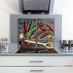 Gsmarkt | Herdabdeckplatten Schneidebrett Spritzschutz Set 2x30x52 | Bild auf Glas | Sicherheitsglas Gehärtetes Glas Bild | Motiv Gewürze