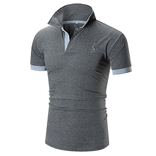 QUINTRA Mode-Business-Männer Casual Slim Kurzarm Fawn T Shirt Top Bluse