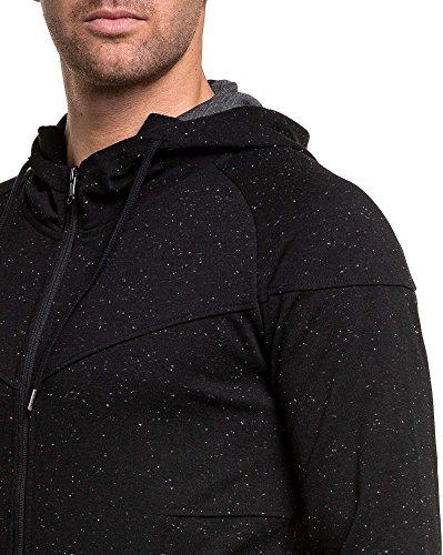 Gov Denim - schwarze Jacke mit Reißverschluss Hoodie Schwarz