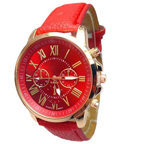 Fasching Karneval Uhren DELLIN Frauen-stilvolle Ziffern-Kunstleder-analoge Quarz-Armbanduhr (Rot)