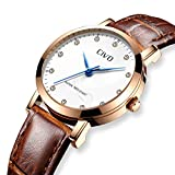 CIVO Damen Uhren Wasserdicht Braunes Echtlederband Damenuhr Analoge Quarz Armbanduhr für Frauen Mode Geschäft Beiläufig Armbanduhr mit weißem Zifferblatt