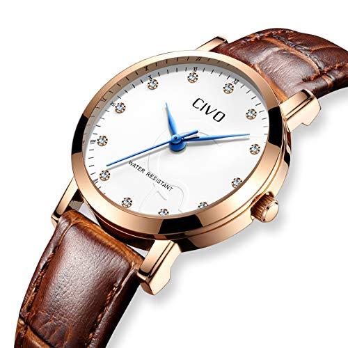 Civo orologi da uomo da uonna impermeabile cinturino in vera pelle marron coppia orologio analogico al quarzo da polso moda attività commerciale casuale orologio da polso con quadrante bianco (donna)