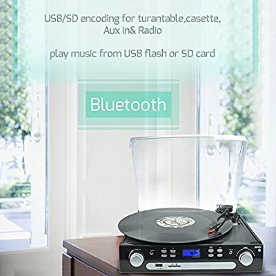 DIGITNOW!!Record Player Turntable Bluetoothwith Speakers Stereo, LP Vinyl to MP3 Converter with Cassette, Radio, Aux in and USB/SD Encoding, Remote Control, 3.5mm Music Output Jack