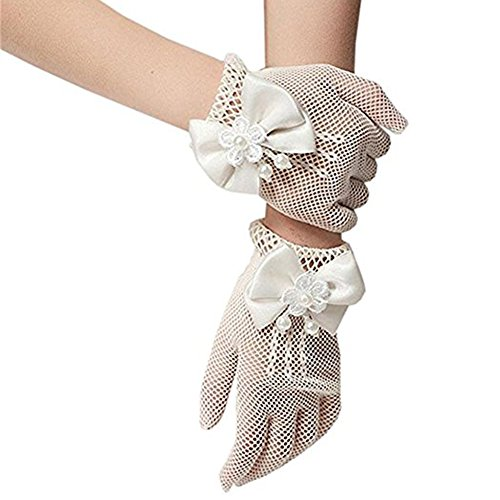 GSCH Flower Girl Gloves White Ivory Lace Short Princess Gloves for Wedding(4-12T) (Weiß) (Crochet Lace Shorts)