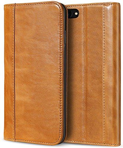 Apple iPhone 8 Echtes Leder Hülle, ProCase Vintage Geldbörse Falten Flip Case mit Kickstand und mehrere Kartensteckplätze Magnetverschluss Schutzhülle für Apple iPhone 8 2017 / iPhone 7 2016 -Braun (Iphone Apple Cell)