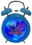 EUROTIME Analog Wecker mit Glocke und Feuerwehr-Motiv, kein Ticken, schleichende Sekunde Modell 22073