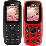 GLX W22 Pack Of 2 Dual Sim Basic Feature Mobile Phone (Black+Red)
