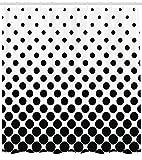 Abakuhaus Duschvorhang, Symmetrisches Kreisel Muster in Schwarz-Weiß Welche von Oben Nach Unten Großer Werden Druck, Wasser und Blickdicht aus Stoff mit 12 Ringen Schimmel Resistent, 175 X 200 cm