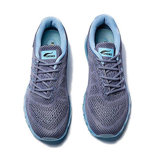 Onemix Homme Femme Air Amortissement Baskets Mixte Adulte Respirante Fitness Gym Running Chaussures Gris Bleu