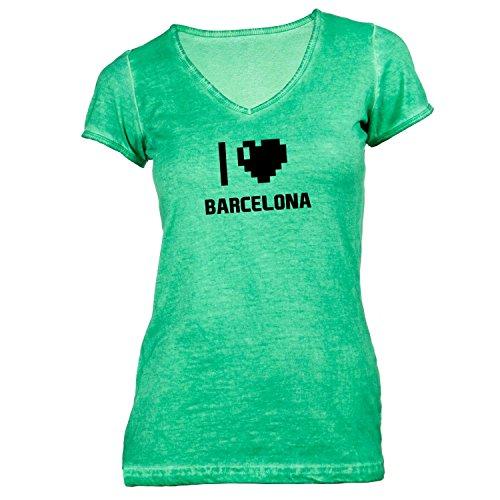 Damen T-Shirt V-Ausschnitt - I Love Barcelona - Spanien Reisen Herz Heart Pixel Grün