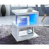 Alaska Modernes Design Weiss Hochglanz Couchtisch Beistelltisch Blau LED Lichter Fr Home