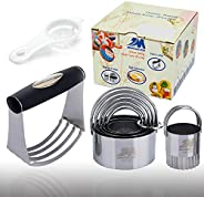 Pastry Cutter Set Biscuit Cutter Set (5 Circle+1Fluted Edge) Dough Blender Mixer Cookie Cutters Round Baking D