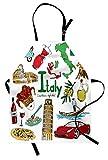 abakuhaus italie tablier de cuisine, style de croquis coloré fun, lavable réglable en hauteur