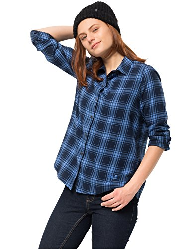 Jack Wolfskin Damen ARENDAL Shirt Karobluse Freizeitbluse Bluse Opal blau Checks, L Preisvergleich
