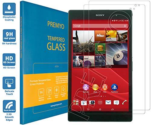 PREMYO 2 Stück Panzerglas Schutzglas Bildschirmschutzfolie Folie kompatibel für Sony Z3 Tablet Compact HD-Klar 9H Anti Kratzer Blasen Fingerabdrücke