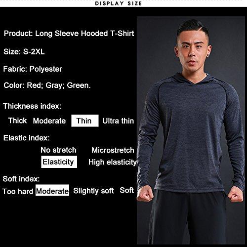 urchoiceltd® liexing Herren Herbst Kleidung Rot Grau Grün erhältlich dünn elastisches Moderate Weichheit Modischer komfortabel Polyester Hooded Long Sleeve Tee grau