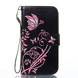 ISAKEN compatibile con Samsung Galaxy S3 Cover - Libro Wallet Flip Case con Brillantini/Glitters, Portafoglio Custodia in PU Pelle Cover con Supporto di Stand/Carte Slot/Chiusura, Nera