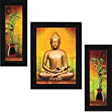 SAF Set of 3 Buddha Vastu UV Coated Home Decorative Gift Item Framed Painting 13.5 inch X 22.5 inch