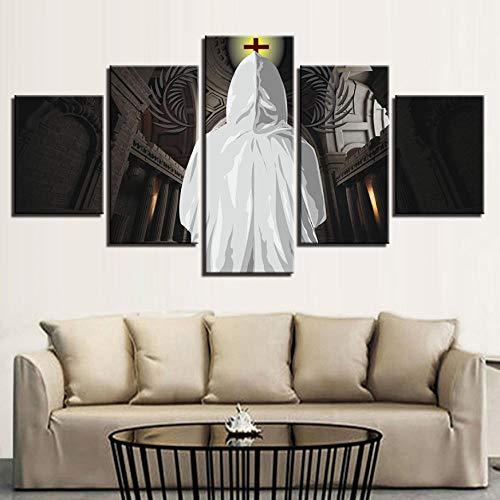 rucke Bilder Modulare Wohnzimmer Wandkunst 5 Stücke Kreuz Christian Gemälde Wohnkultur Kirche Poster Rahmen-40X60Cmx2 40X80Cmx2 40X100Cmx1 ()