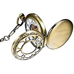 Mudder Mechanical Pocket Watch Skeleton Dial for Men Women
