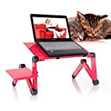 Portable Adjustable Aluminum Laptop Desk/Stand/Table Vented w/CPU Fans Mouse Pad - Light Weight 360 Degree Revolve Folding Aluminum Alloy aptop table for bed adjustable (Red)