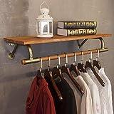 WURE Retro Kombination Garderobenhaken Kleiderständer Holz Eisen Wandbehang Rahmen Geeignet für Wohnzimmer Schlafzimmer Studie Robust und Haltbar/Nicht rostig/Abnehmbar (60cm, 80cm, 100cm, 120cm)