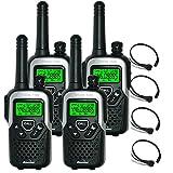 10Km Binatone Action 1100 Walkie-Talkie Lizenzfreie 2 Zwei Way PMR Radio + Comtech CM-115TH VOX/PTT Kehlkopfmikrofon Headset - Schwarz & Silber, Quad